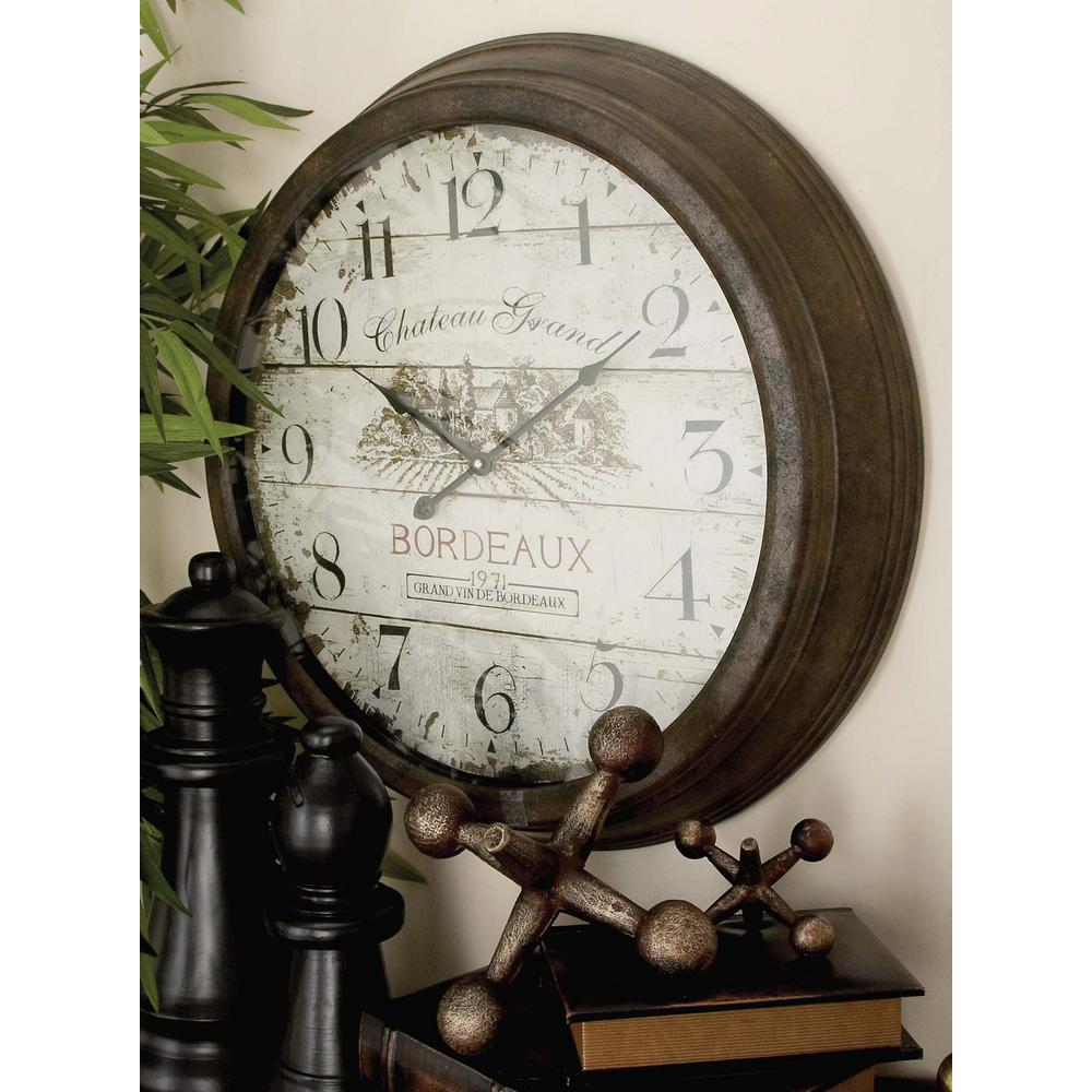 French Inspired Vintage Round Wall Clock 52500 The Home Depot