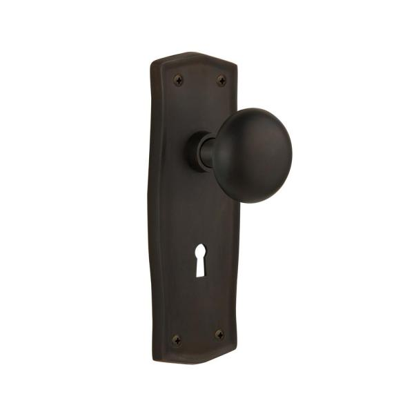 Nostalgic Warehouse Prairie Plate With Keyhole 2 3 8 In Backset Oil Rubbed Bronze Passage Hall Closet New York Door Knob 704454 The Home Depot