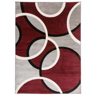 """Contemporary Abstract Circles Area Rug 7' 10"""" x 10'2"""" Red"""