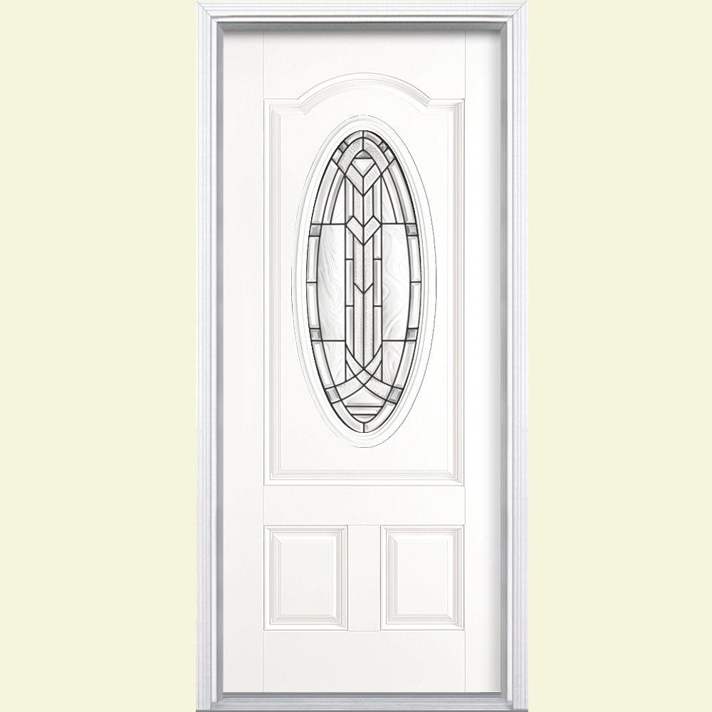 Masonite 36 in. x 80 in. Chatham 3/4 Oval Lite Left Hand Inswing Painted Steel Prehung Front Door with Brickmold