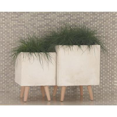Large: 18 in., Small: 15 in. White Fiber Clay Wood Planters (2-Pack)