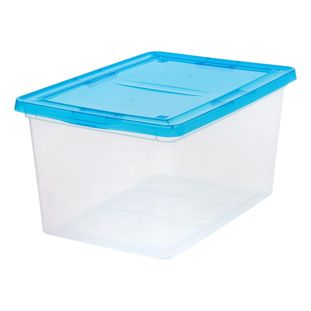 Iris 58 qt storage box in clear with teal lid 586873 for Teal bathroom bin
