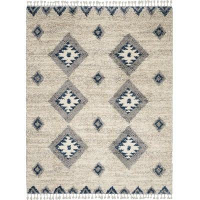Adonis Ivory/Blue 8 ft. x 11 ft. Moroccan Shag Area Rug