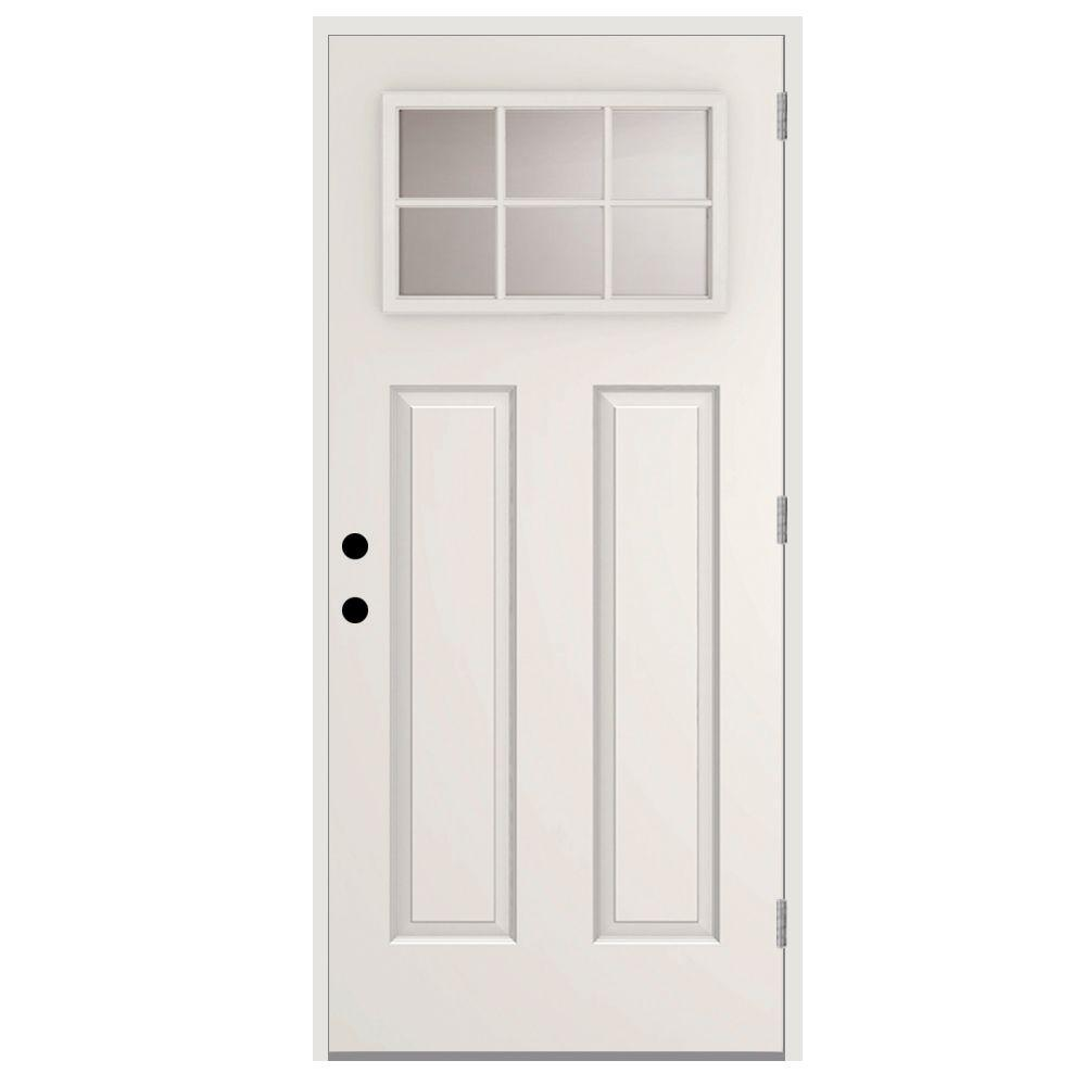 Beau 6 Lite Left Hand Outswing Primed White Steel Prehung Front Door With 4 In.  Wall ST30 6L 28 4OLH   The Home Depot
