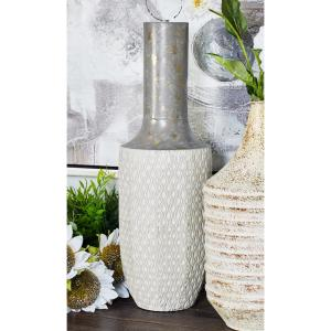 16 in. x 6 in White Iron Decorative Vase with Lekthos-Type Body