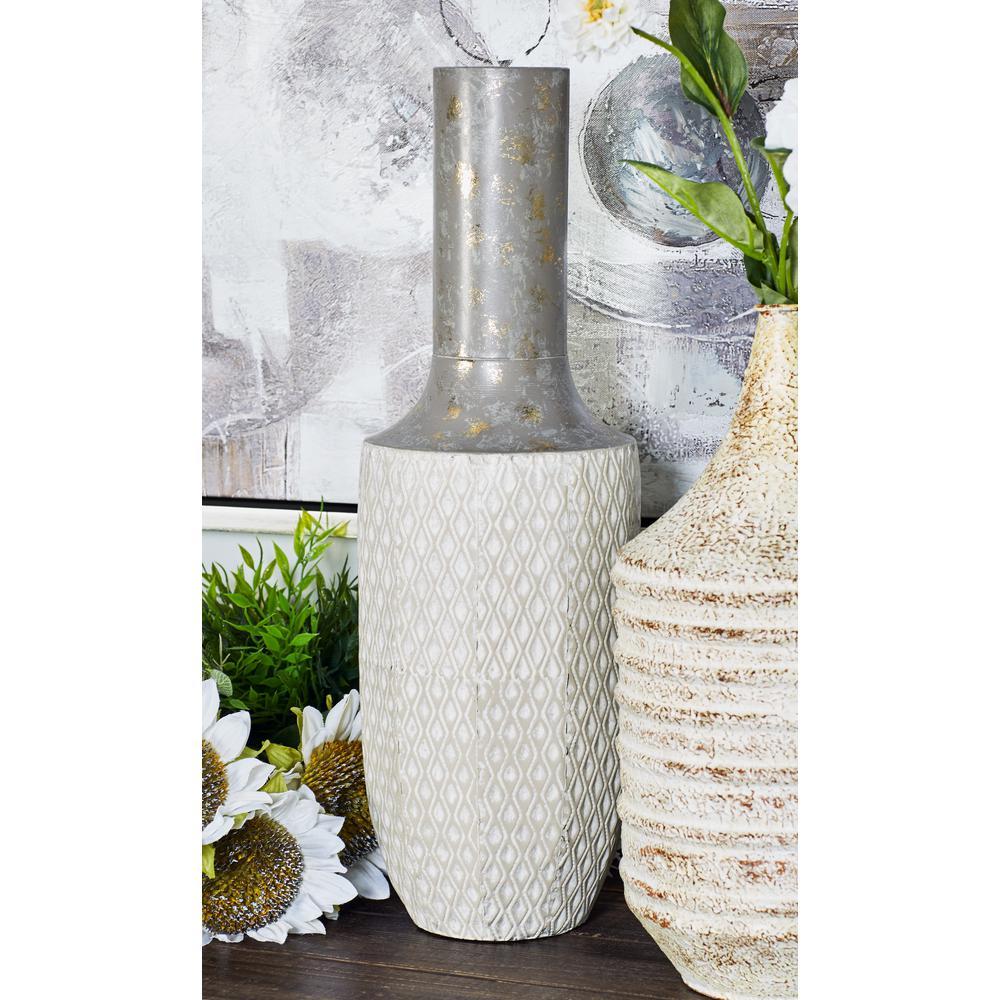16 in. x 6 in White Iron Decorative Vase with Lekthos-Type Body