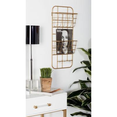 Gold Iron 2-Tiered Wall-Mounted Basket Rack with Hooks