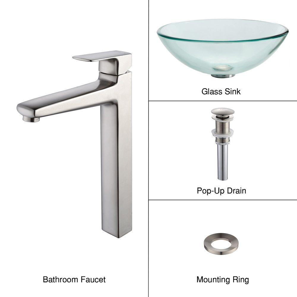 KRAUS Glass Vessel Sink in Clear with Virtus Faucet in Brushed Nickel