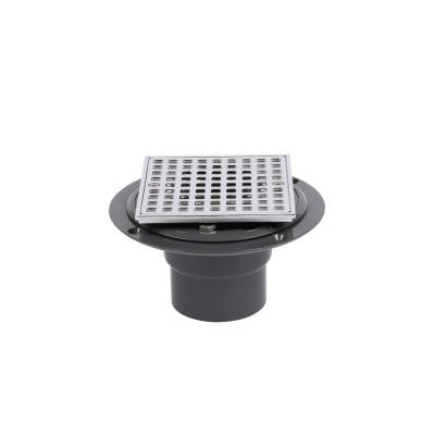 Round Gray PVC Shower Drain with 4-3/16 in. Square Screw-In Chrome Drain Cover