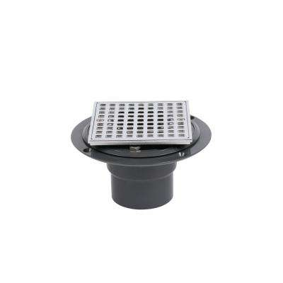 PVC Shower Drain with Chrome Barrel and Square 4-3/16 in. Chrome Strainer