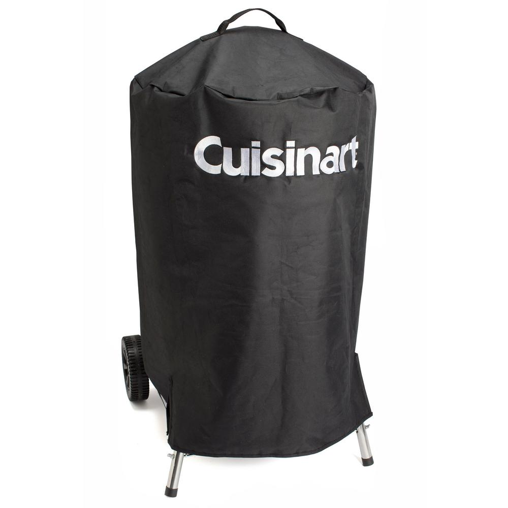 Cuisinart Universal Kettle Cover for COS-118, CCG-290 and Other Kettle Grills, Black Protect any 18 in. kettle grill from the elements with the Cuisinart Universal 18 in. Kettle Cover. This cover also works perfectly with the Cuisinart COS-118 Charcoal Smoker. The water-resistant nylon fabric allows your grill or smoker to be left out in the rain without worrying about serious water damage to your cooker. Velcro straps create a secure fit by strapping to the legs of your grill or smoker. Color: Black.