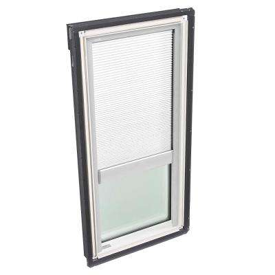 14-1/2 in. x 45-3/4 in. Fixed Deck Mount Skylight with Tempered Low-E3 Glass and White Manual Room Darkening Blind