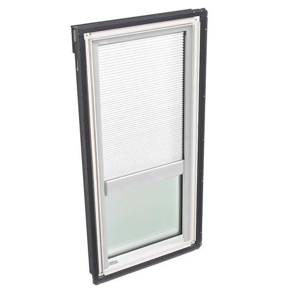 22-1/2 in. x 45-3/4 in. Fixed Deck-Mount Skylight with Laminated Low-E3 Glass and White Manual Room Darkening Blind