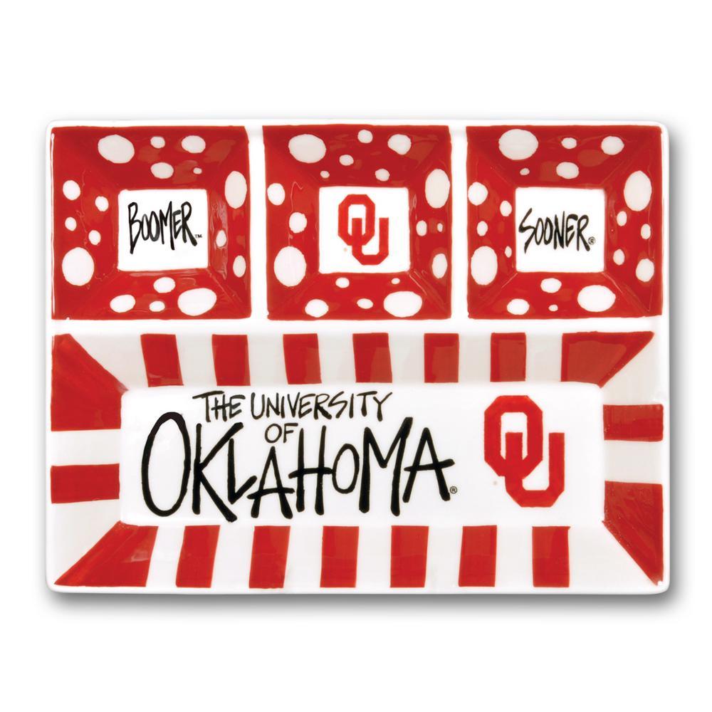 Oklahoma Ceramic 4 Section Tailgating Serving Platter