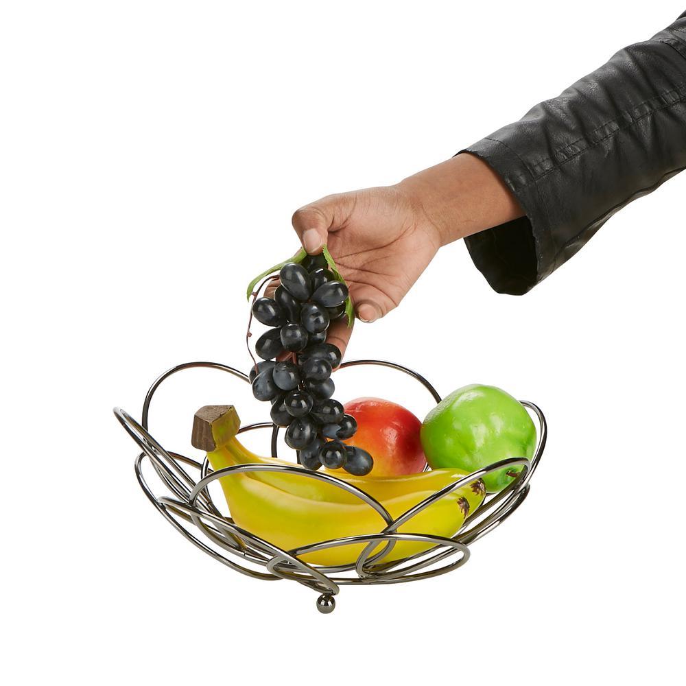 Mind Reader Gray Metal Fruit and Vegetable Basket Bowl ...