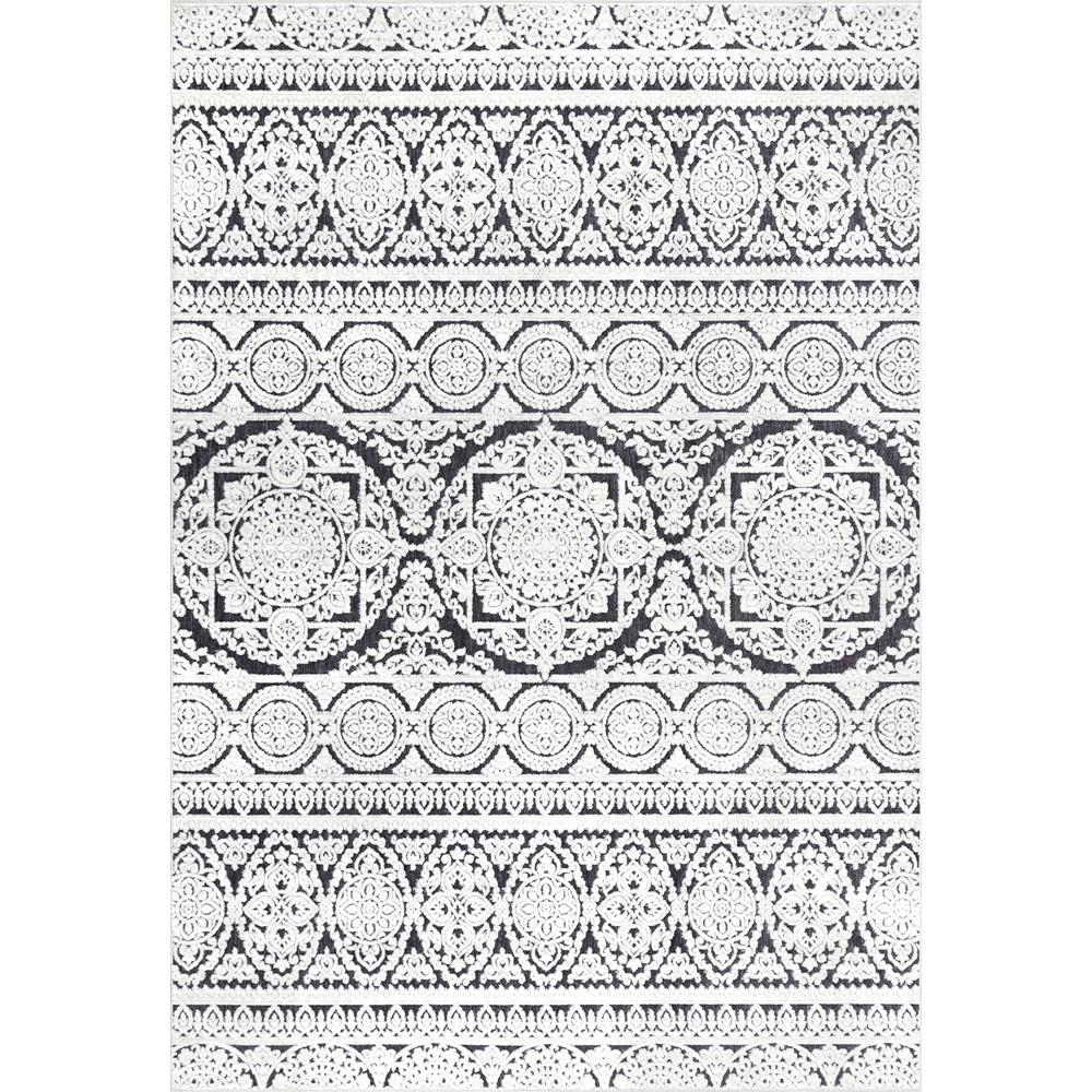 Nuloom Contemporary Jeannie Floral Black And White 5 Ft X 8 Ft