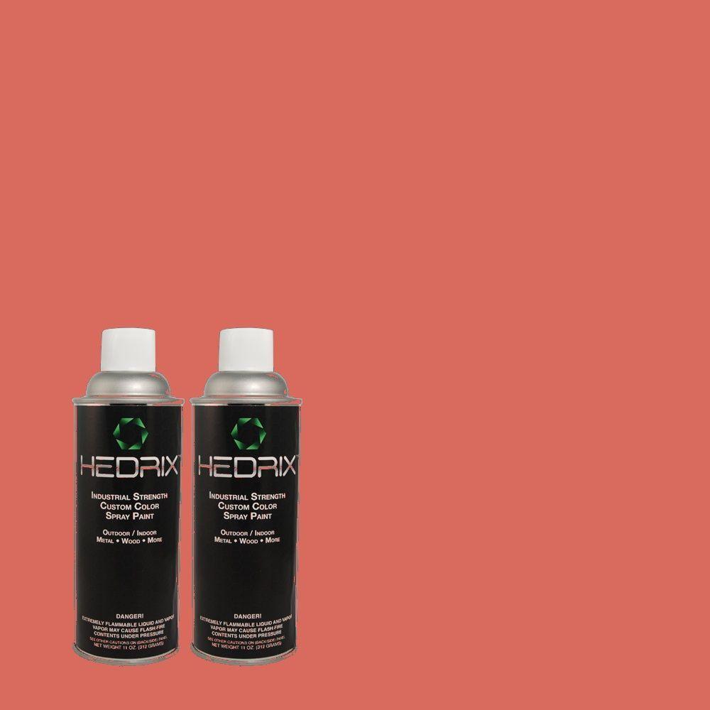 Hedrix 11 oz. Match of 1B25-6 Hot Cayenne Semi-Gloss Custom Spray Paint (2-Pack)