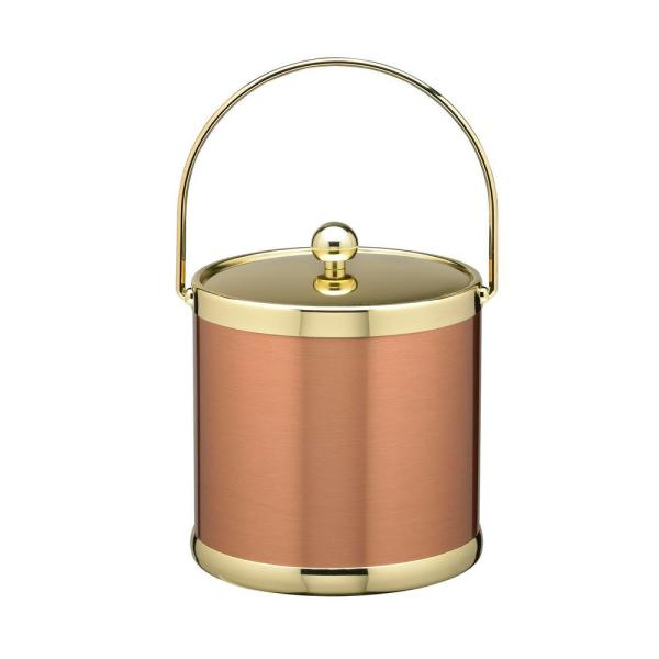Kraftware Americano 3 Qt.Brushed Copper and Brass Ice Bucket with Metal Bale Handle