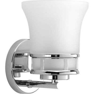 Cascadia Collection 1-Light Polished Chrome Bath Sconce with Etched Glass Shade