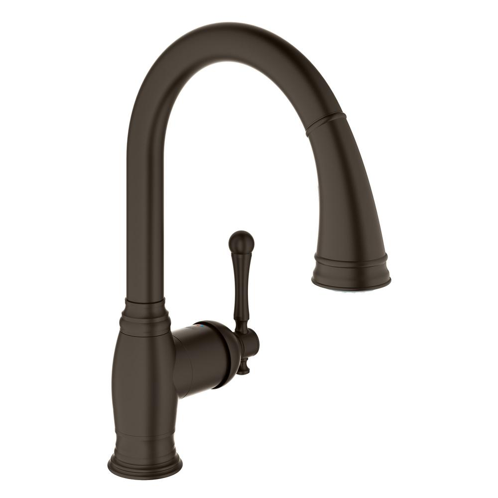 GROHE Bridgeford Single Handle Pull Down Sprayer Kitchen Faucet With  Dual Spray In Oil Rubbed Bronze 33870ZB2   The Home Depot