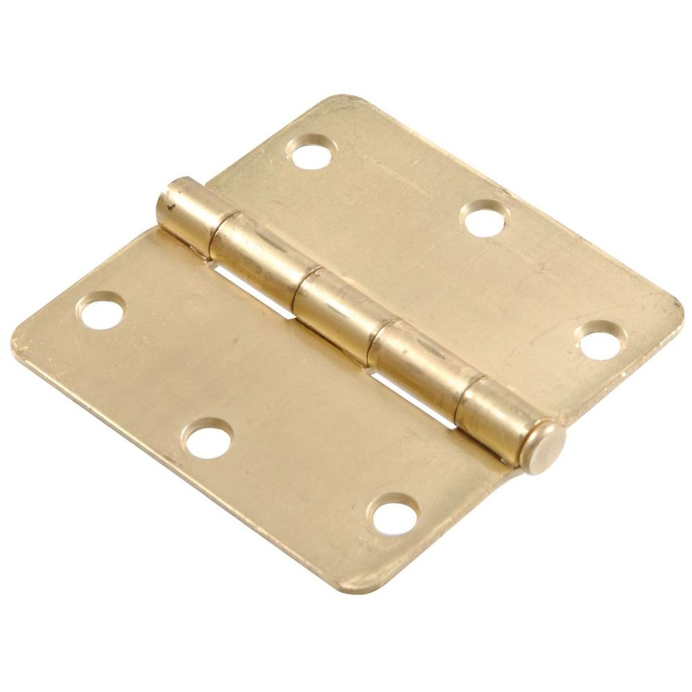 3-1/2 in. Satin Brass Residential Door Hinge with 1/4 in. Round