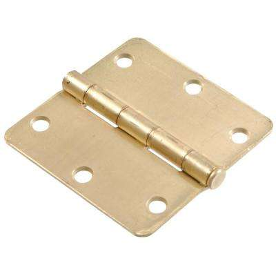 3-1/2 in. Satin Brass Residential Door Hinge with 1/4 in. Round Corner Removable Pin Full Mortise (18-Pack)