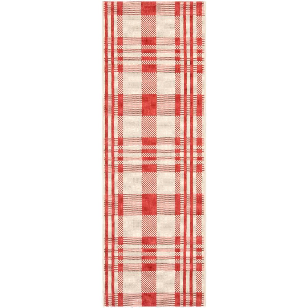 Safavieh Courtyard Red/Bone 2 ft. 3 in. x 10 ft. Indoor/Outdoor Runner