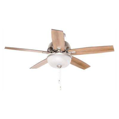 Donegan 52 in. LED Indoor Brushed Nickel Ceiling Fan with Light Kit