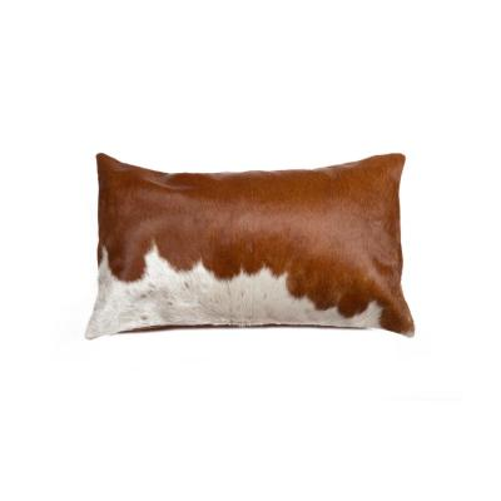 Torino Kobe Cowhide Brown & White Animal Print 12 in. x 20 in. Throw Pillow
