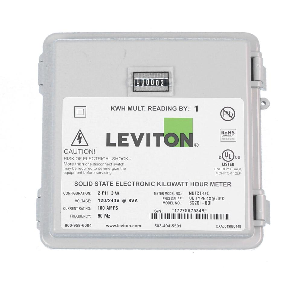 Leviton 100 Amp Mini Meter Kit With 2 Solid Cts And Outdoor Enclosure White Mo240 1sw The Home Depot