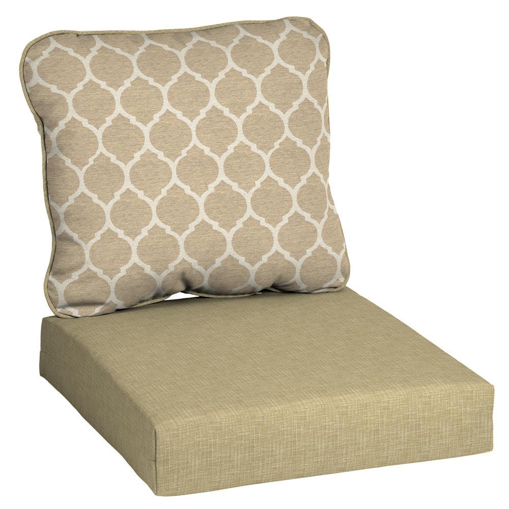 CushionGuard Toffee Trellis 2-Piece Deep Seating Outdoor Lounge Chair Cushion