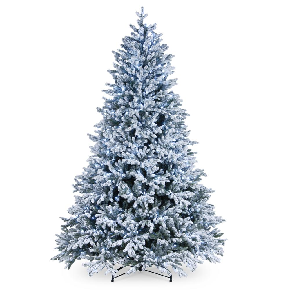 Cool Christmas Trees.National Tree Company 7 1 2 Ft Feel Real Snowy Hamilton Spruce Hinged Tree With 750 Cool White Led Lights