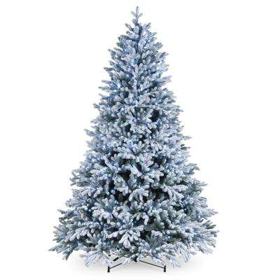 7 1 2 Ft Feel Real Snowy Hamilton Spruce Hinged Tree With 750 Cool White Led Lights