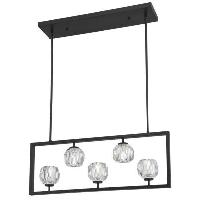 Zoa 5-Light Matte Brushed Gun Metal LED Chandelier with Crystal Glass Shades