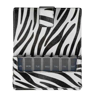 Fashion Travel Pill Case 7 Day Pill Planner Organizer, Zebra