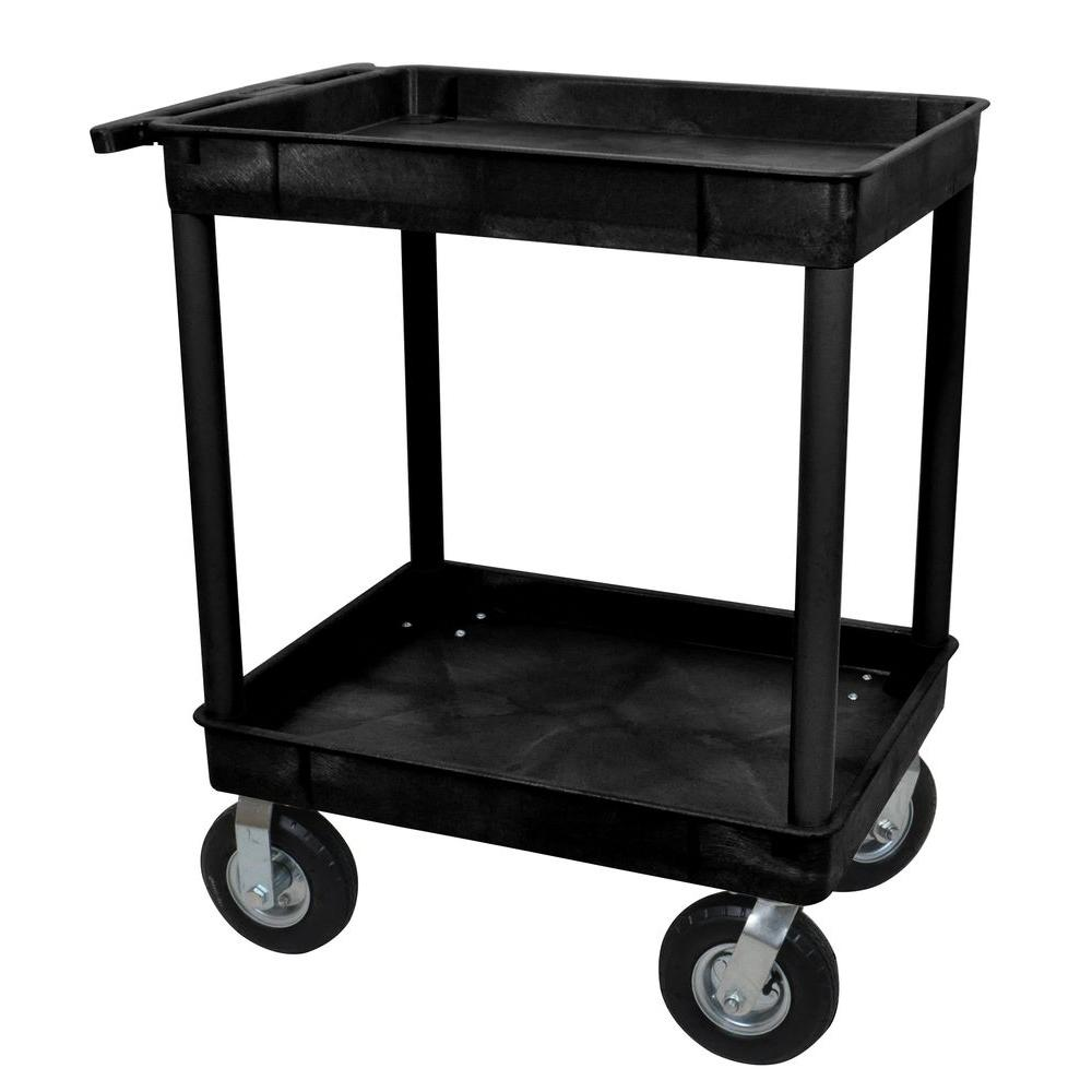 24 in. x 32 in. 2-Tub Shelf Plastic Utility Cart with