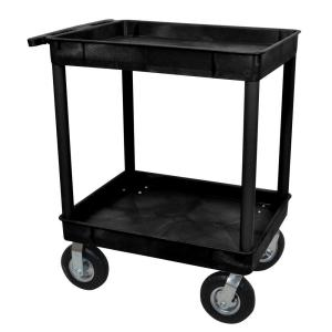 Luxor 24 inch x 32 inch 2-Tub Shelf Plastic Utility Cart with 8 inch Pneumatic... by Luxor