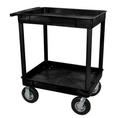 24 in. x 32 in. 2-Tub Shelf Plastic Utility Cart with 8 in. Pneumatic Casters in Black