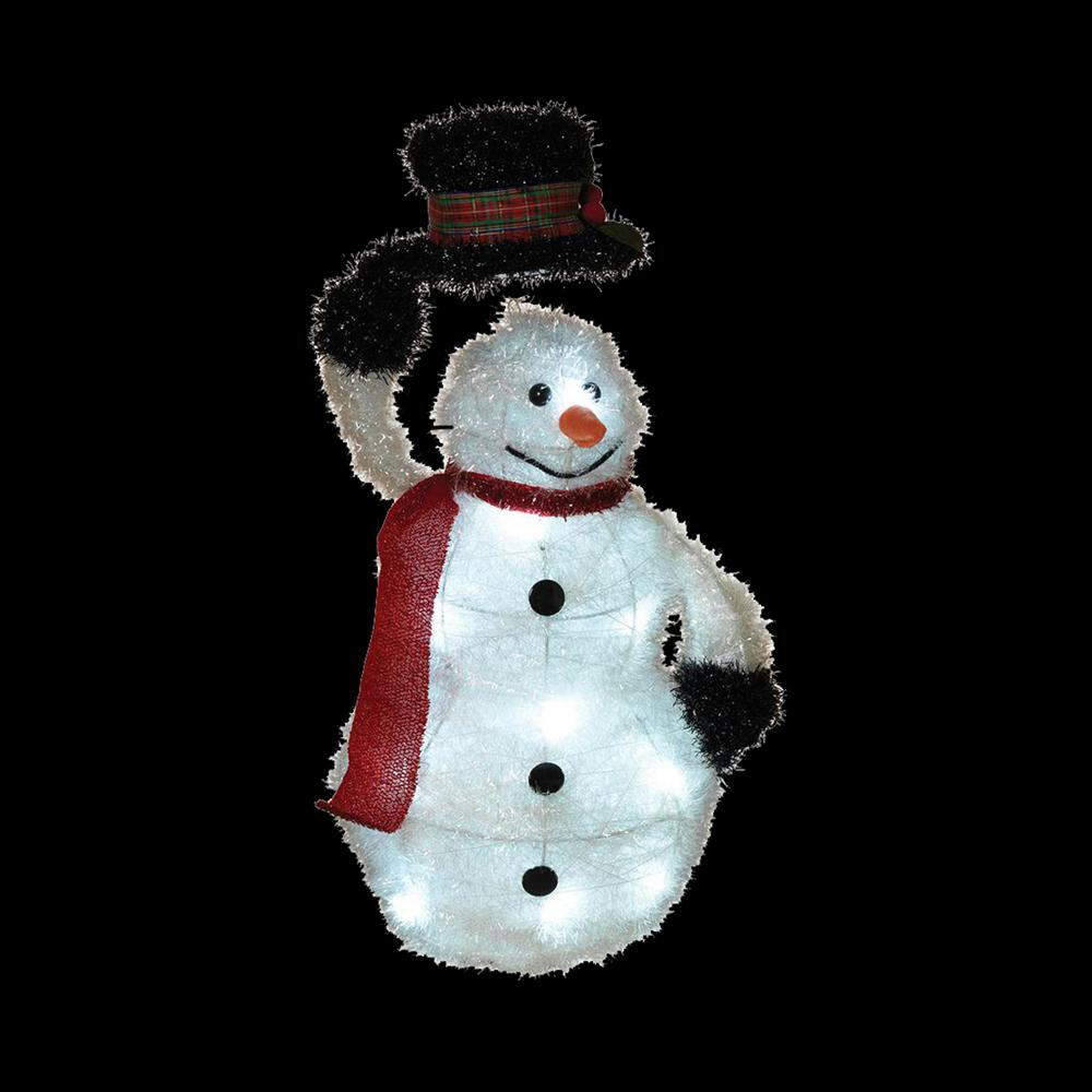 """RED SCARF BLACK TOP HAT SNOWMAN LED STRING LIGHTS 20 LIGHTS 7/' 4/"""" L SILVER WIRE"""