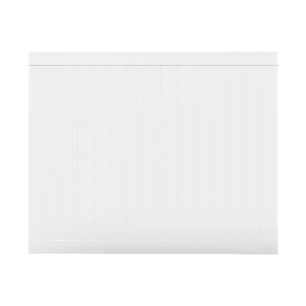 Veranda Pro Series 6 ft. H x 8 ft. W Patio White Vinyl Anaheim Privacy Fence Panel - Unassembled