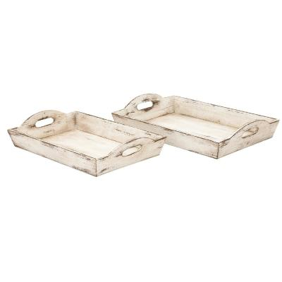 Distressed Wooden Finish Serving Trays with Handles