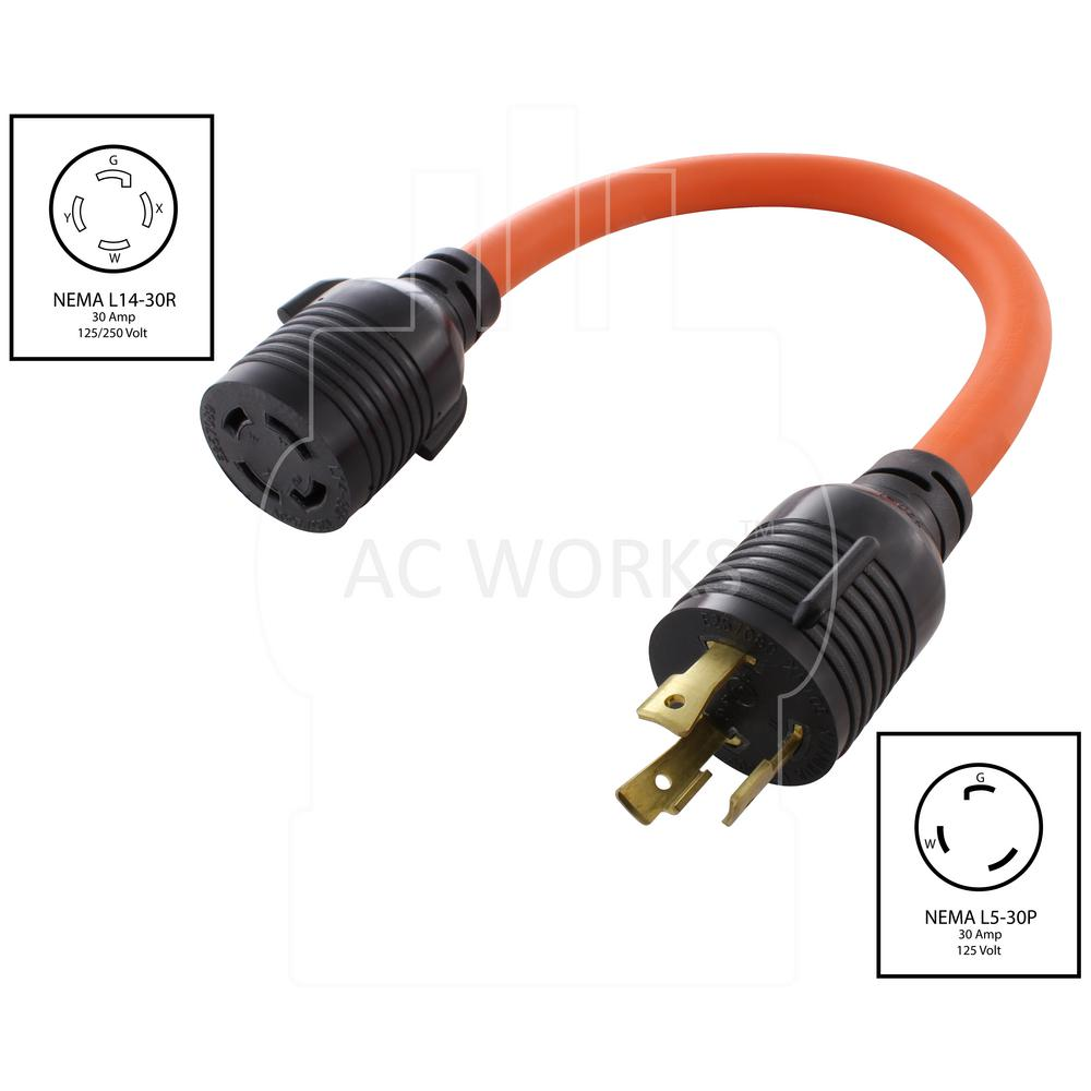Flexible EV Charging Adapter for Tesla NEMAL5-30P to NEMA14-50R by AC WORKS®