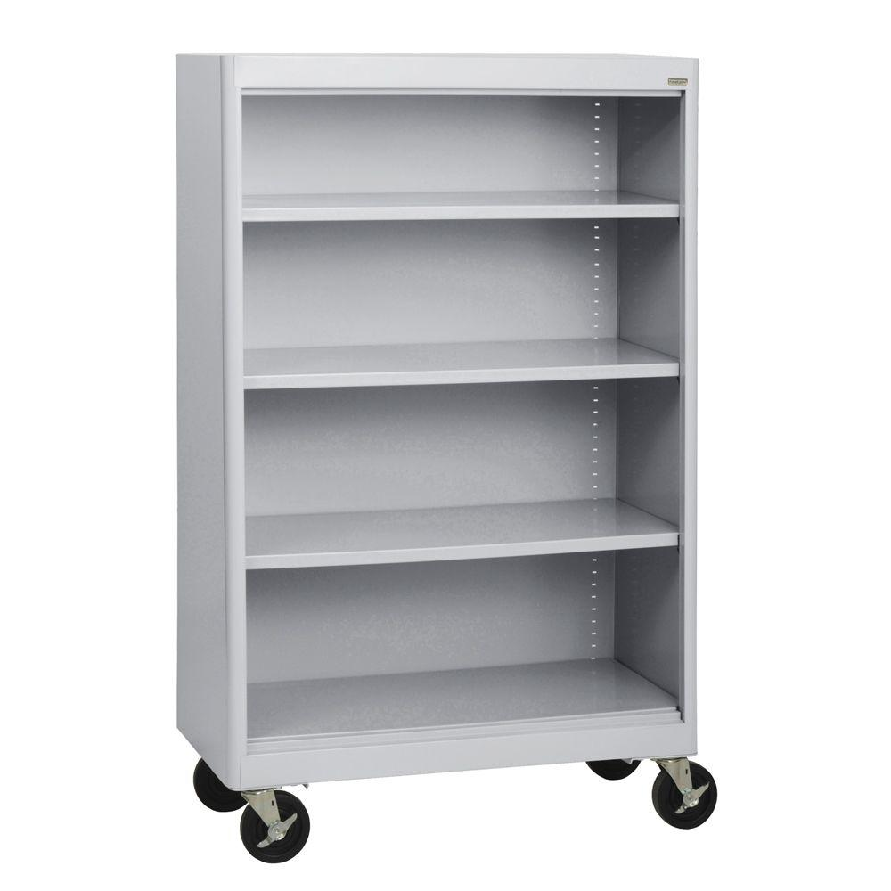Radius Edge Dove Grey Mobile Steel Bookcase