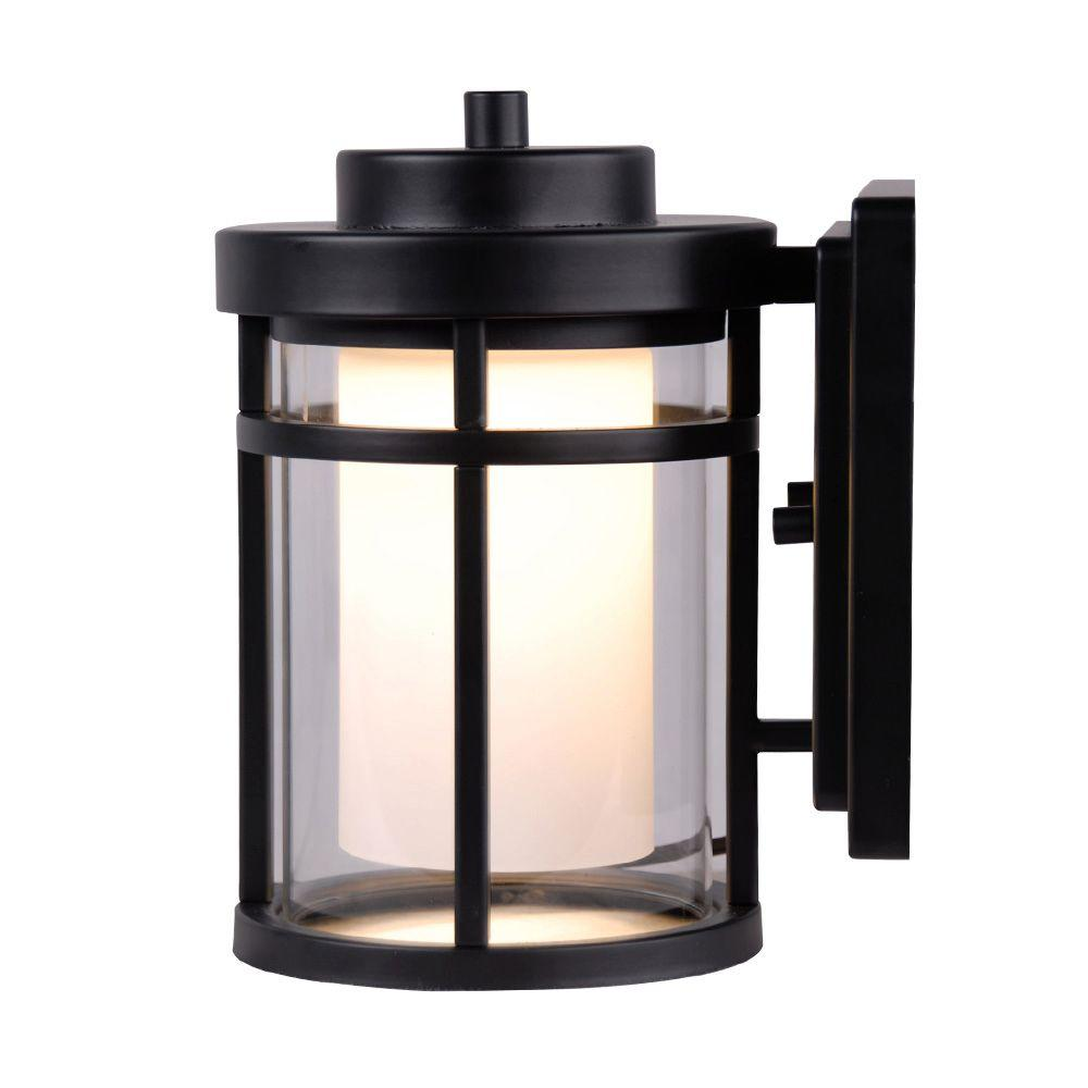 Home decorators collection black outdoor led small wall light dw7031bk the home depot - Exterior led lights for homes ...
