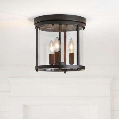 3-Light Vintage Bronze Flush Mount with Clear Glass