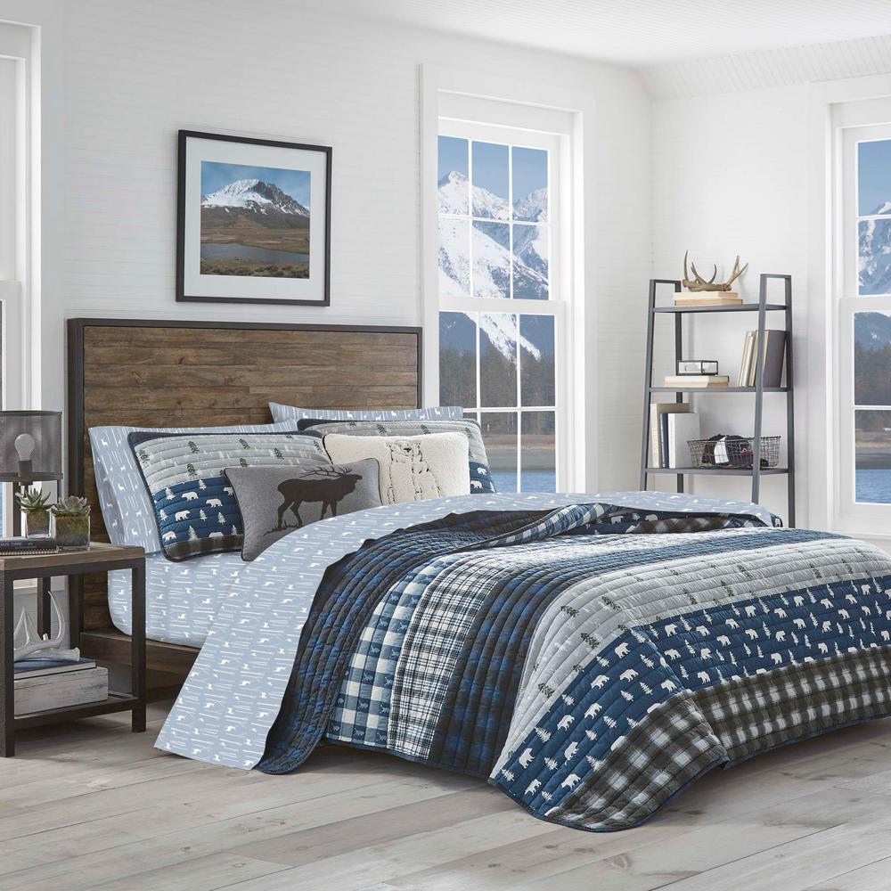 Eddie Bauer Birch Forest Blue 4 Piece Flannel Queen Sheet Set Ushsa01144536 The Home Depot