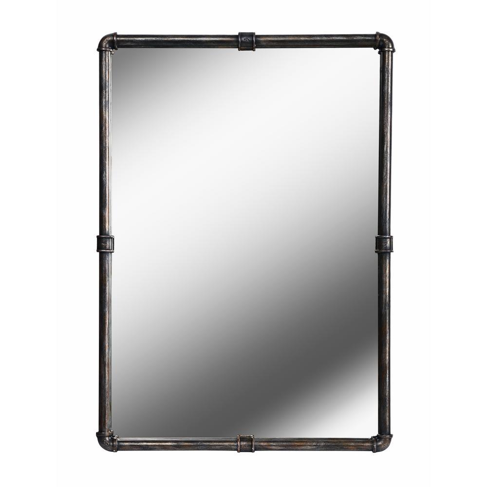 Medium Rectangle Vintage Metal Finish Hooks Mirror (37.25 in. H x 26 in. W)