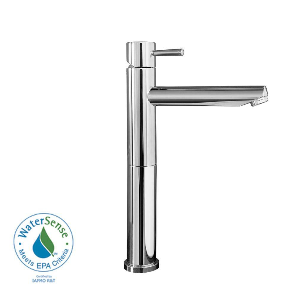 American Standard Serin Single Hole 1-Handle Mid-Arc Vessel Bathroom Faucet with Grid Drain in Chrome