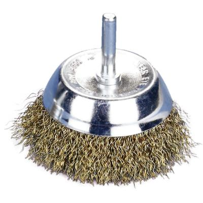 3 in. x 1/4 in. Shank Crimped Brass Coated Steel Wire Cup Brush 0.012 in. Wire