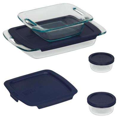 Bake N Store 8-Piece Glass Bakeware and Storage Set with Blue Lids